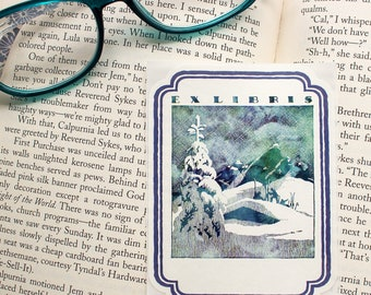 winter forest bookplates - masculine book plates - Ex Libris - bookplate stickers - custom bookplate - bookworm for him - gift for Dad