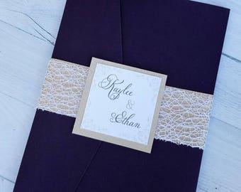 Simple and Elegant Purple and Gold Wedding Invitation