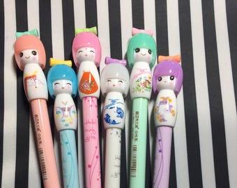 Cute Doll Pen, stationery, gel pen, gem pen, crown pen, doll pen, planner, journal, travelers notebook, kokeshi doll Mother's Day glam
