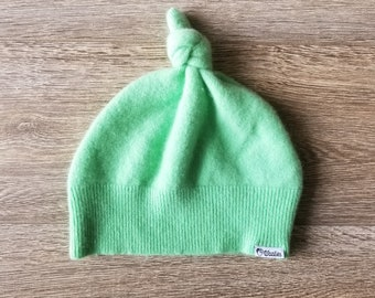 Best TODDLER Cashmere Beanie // 1-4 years // Lime Sherbet // Upcycled Cashmere sweater // Kid Beanie // Knotted Beanie