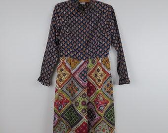Vintage 1970s Brightly Patterned Secretary Dress - Neusteters - Bust 36 (B4)