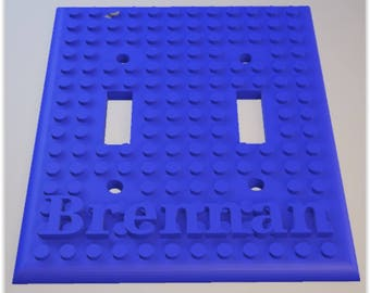 Personalized Lego light switch (double) plate with child's name