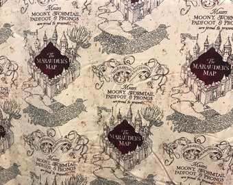 Harry Potter Marauders Map knit fabric, Moony, Wormtail, Padfoot & Prongs, book fabric, knit fabric, J.K. Rowling, licensed fabric