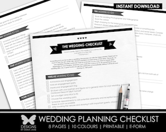 Printable Wedding Checklist, Printable Wedding Planning Checklist, Wedding Checklist, Checklist, Wedding, Wedding Planning