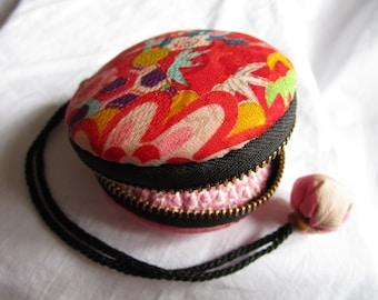 7.5cm Soft IMAGAWA-YAKI Style Macaron Zipper Pouch - made with vintage silk Japanese kimono fabric