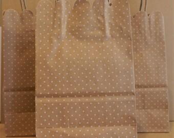 5 Paper Kraft Polka Dot Favor/ Gift Bags With Handles