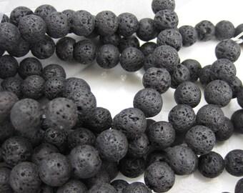 Natural Lava stone Round Bead, Medium Lava beads, 8mm, PH-038