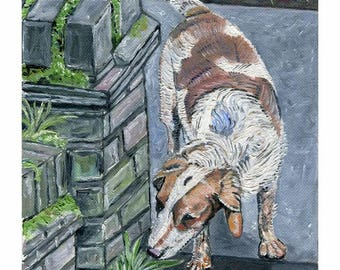 """Original oil painting, ' On the Trail ', 6""""x4"""" Dog Artwork"""