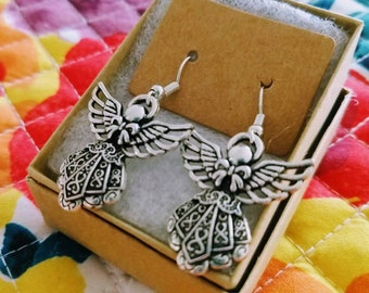 Guardian Angle Earrings Dangle  Antique Silver Metal Charm Gift Wrapped Mother's Day