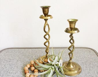 Brass Candlesticks Wedding Decor Set of 2