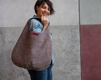 blue hobo bag, xl shoulder bag, red dark blue bag, navy blue hobo bag, long hobo bag, large shoulder bag, tote bag canvas, gift for mom