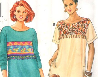 """Butterick 4015, Sz 6-10/Bust 30.5-32.5"""". Ladies Very Loose Fitting Drop Shoulder Tunic Top w/ Short/Long Sleeves, UNCUT FAST & EASY pattern"""