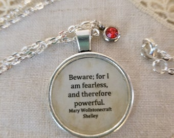 Frankenstein Quote Necklace, Mary Shelley Quote Necklace, Fearless, Inspirational Quote, Book Nook, Book Quote Necklace, MarjorieMae