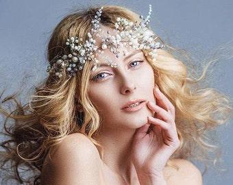 Bridal Headpiece  Wedding Hair Vine Bridal Hair Vine Bridal Hair Accessories Crystal Pearl Headpiece Wedding Pearl hair piece  Bridal Wreath