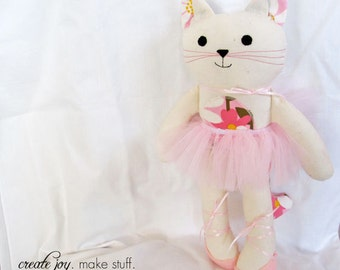 "Add-on - Tutu & Shoes for 13"" Cat Doll - Pattern/Tutorial, sewing, ballet, ballerina, kitty, costume, fabric, simple, easy, softie, stuffed"
