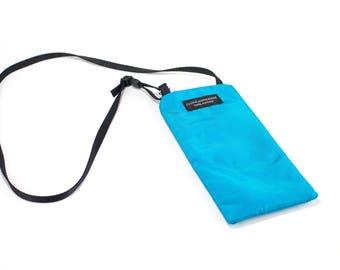 Eyeglass case for readers - Aqua Blue nylon fabric Eyeglass Reader Case -with neck strap/lanyard