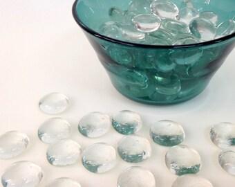 2 lb Clear flat glass marbles -  vase filler - glass stones - floral arranging