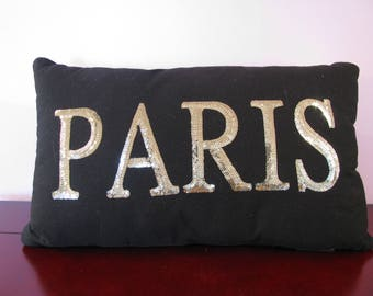 Black Paris Pillow. Glittery. Brand New. Lovely.