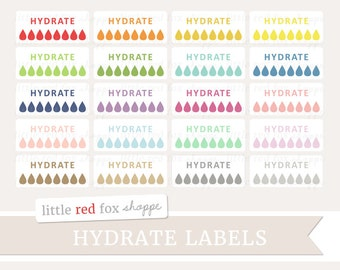 Hydration Clipart, Hydrate Labels Clip Art Water Planner Erin Condren Rain Drop Fitness Cute Digital Graphic Design Small Commercial Use