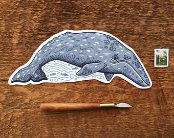 Gray Whale Postcard, Whale Postcard, Die Cut Letterpress Postcard