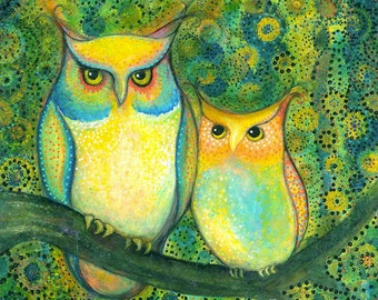 "Owl Art Print--8X8 or 10X10 Archival Print of Original Mixed Media Painting--""Owl Pair""--Pam Kapchinske"