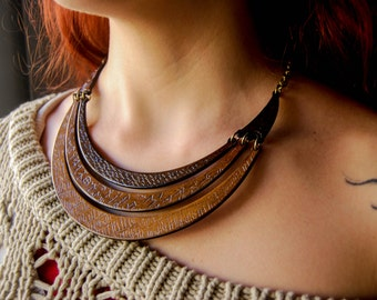 Tribal viking Necklace Viking runes Wood