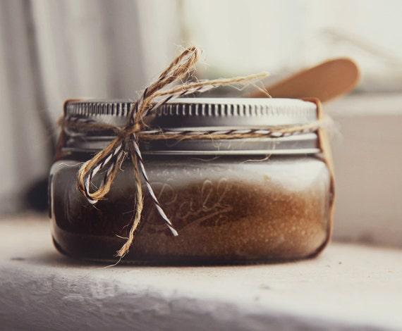 Coffee & Brown Sugar Scrub 8oz in Ball Jar   - w/ mushroom extracts   Luxury Scrub, Exfoliating Scrub,  Bridesmaid Gift, Coffee lover