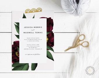 Burgundy Wedding, Marsala Wedding Invitation, Wedding Invitation, Wedding Invitation Set, Marsala Wedding, Wedding Invitation Suite, #BPS