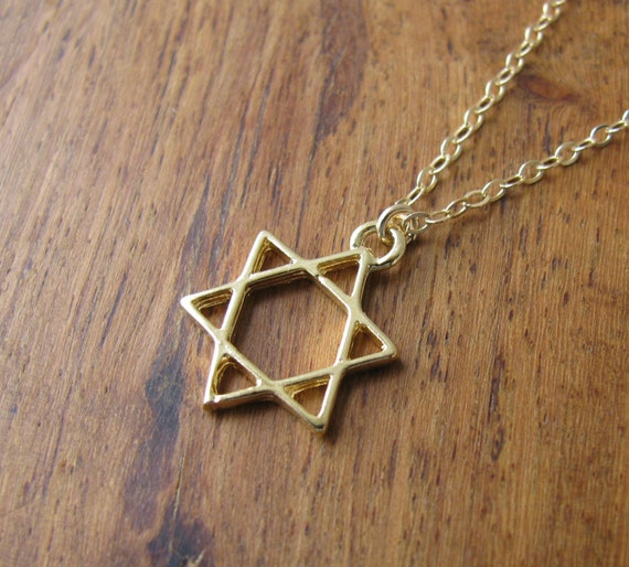Gold necklace Gold Jewish Star of David Necklace Jewish
