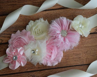 Flower Sash, Light pink and Ivory Sash , flower Belt, maternity sash