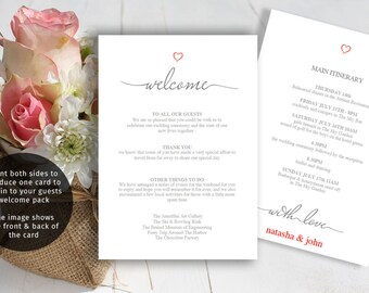 Wedding itinerary Template, Printable welcome letter, guest itinerary for wedding weekend
