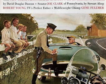 1957 Ticket For Roadster - Man Getting Speeding Ticket - George Hughes Art - Saturday Evening Post Cover - 1950s Kelvinator Refrigerator Ad