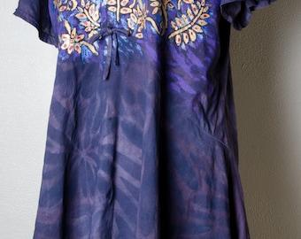 Star Burst navy blue plum flutter plus size 2xl 3xl xxl dress tunic india indian shirt top artsy 4x