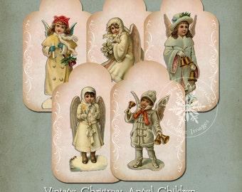 Vintage Christmas Angel Children Printable Digital Download