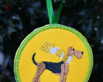 Airedale with Scarf Ornament