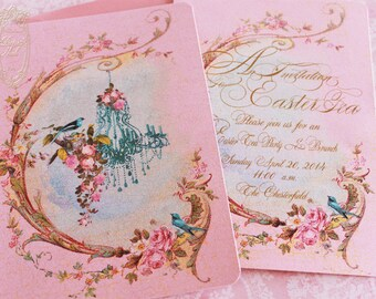 Invitation Chandelier Français Glittered Card Design Available in Two Sizes