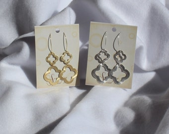 Quatrefoil Earrings, Clover Earrings, Double Quatrefoil Earrings, Open Quatrefoil and Dangling Open Quatrefoils In Gold and  Silver