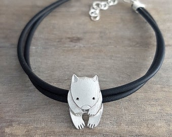 Wombat bracelet Sterling silver on rubber