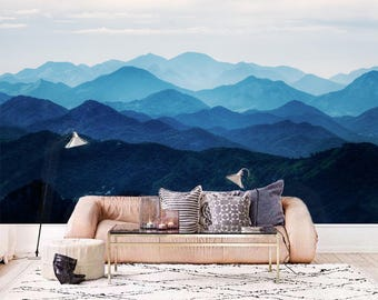 "Big Sale: Misty Mountain Wallpaper Foggy Mountain Silhouette Wall Mural Romantic Smoky Blue Lavender Purple Wall Decal Hill 129.5"" x 81.9"""