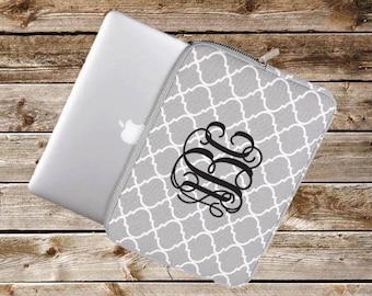 "Monogram Laptop Sleeve | Quatrefoil | Personalized | 11"" 12"" 13"" 14"" 15"""