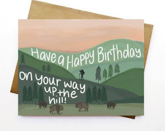 Up the Hill | Happy Birthday | Birthday Card | Just Because | Greeting Card | Love | Hand Illustrated |