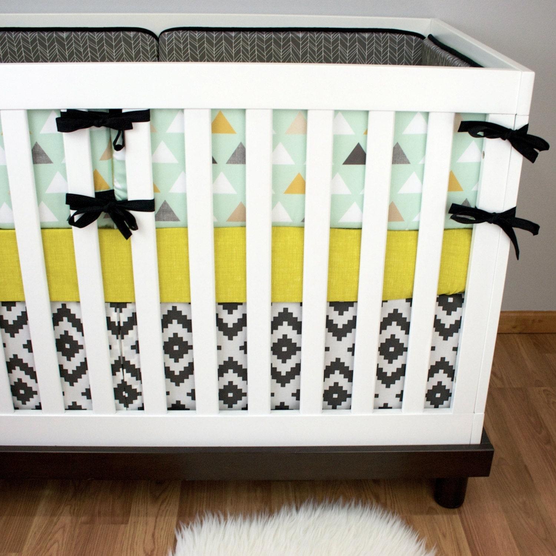 Modern Boy Cribset Gray Mint Crib Bedding