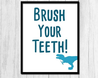 Brush Your Teeth Sign Printable Art Instant Printable Bathroom Rules Sign Blue Bathroom Art Blue Bathroom Print Aqua Print Aqua Art Prints