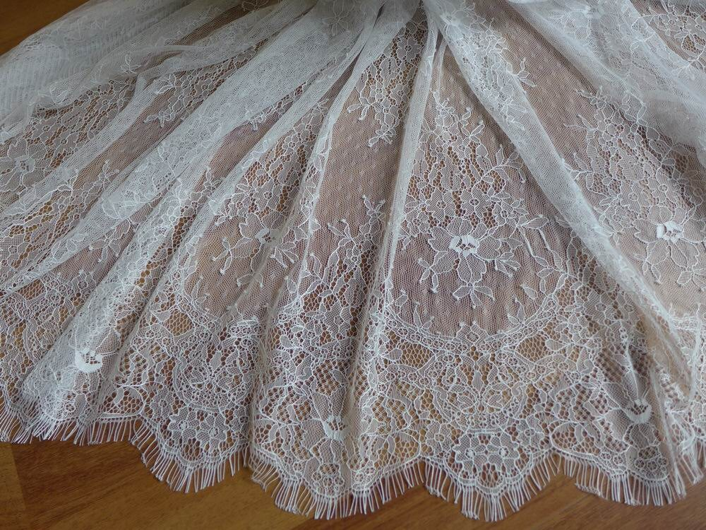 White French Chantilly Lace Fabric Elegant Floral Wedding Fabric ...