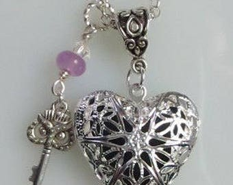 Aromatherapy Oil Diffuser Heart Locket, Owl Key Charm, Lavender Jade, Swarovski Crystal, Necklace on Chain, Choose Length