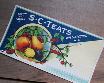 Vintage Fruit Crate Label S. C. Teats