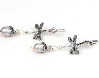 Art Nouveau Wedding Jewelry Earrings, Boho Dragonfly Jewelry, Art Nouveau Bridal Jewelry, Silver Dragonfly Dangle Earrings, Gift For Me