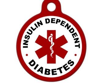 Pet ID Tag - Insulin Dependent Diabetes Medical ID Tag - Medical Alert Tag, Pet Tag, Child ID Tag, Dog Tag, Cat Tag