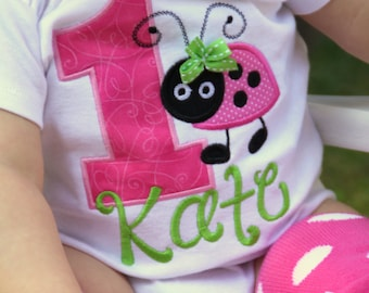 First Birthday Bodysuit or Shirt  -- Little Lady - Hot Pink, lime green and black ladybug - personalized bodysuit or shirt