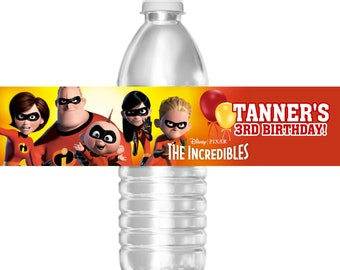 Waterproof The Incredibles Birthday Party Water Bottle - Mini water bottle label template